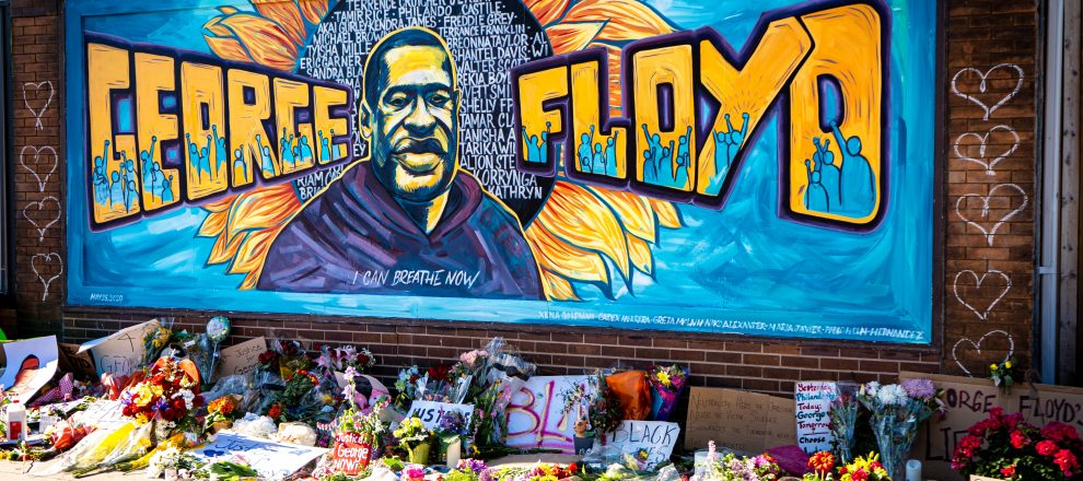 beautiful graffiti mural honoring george floyd from black lives matter protest...for more editorial photos:http://www.shutterstock.com/g/MUNSHOTS?rid=267047586