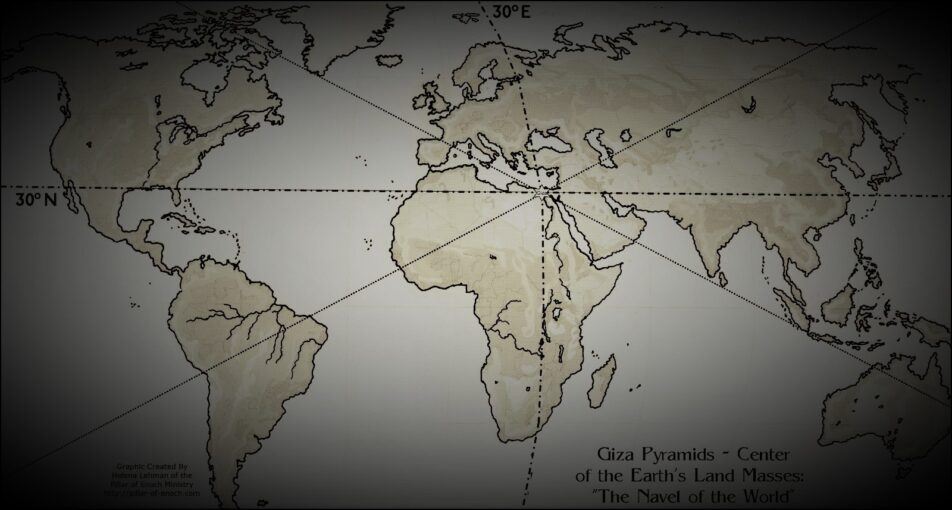 the great pyramid of giza is located at the exact center of earth's landmass