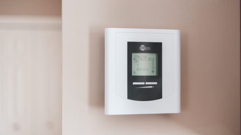 white and gray thermostat at 19 5