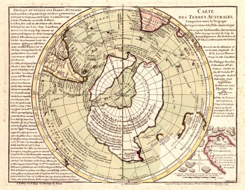 the ancient 'buache map' is depicting ice free antarctica